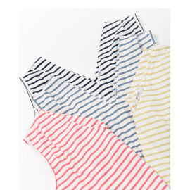 image of V領條紋無袖上衣 四色售 V-Neck Striped Sleeveless Top Four Colors