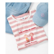image of 查理.布朗粉色條紋瘋狂印圖T恤 Charlie. Brown Pink Stripe Crazy Print T-Shirt