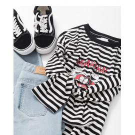 image of 查理‧布朗兄妹黑白條紋人物長袖T恤 Charlie Brown Brothers Black and White Striped Character Sleeve T-Shirt