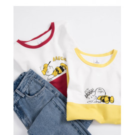 image of 查理.布朗跌倒撞色T恤 兩色售 Charlie. Brown T-Shirt Two-Color