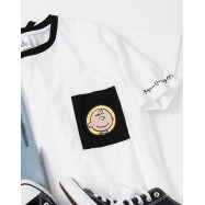 image of 查理‧布朗單口袋人物繡花短袖T恤 Charlie Brown Single-Pocket Character Embroidered Short-Sleeved T-Shirt