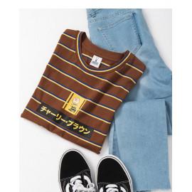 image of 查理‧布朗日文字撞色條紋T恤 Charlie Brown's Text Contrast Striped T-Shirt