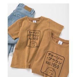 image of 查理‧布朗童裝親子系列框框日文字T恤 Charlie Brown Children's Wear Parent-Child Series Frame Text T-Shirt
