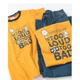 image of 查理‧布朗童裝親子系列趣味聽音樂T恤 Charlie Brown Children's Wear Family Series Fun Listening Music T-Shirt