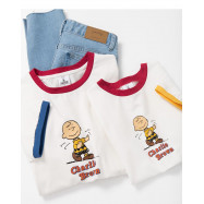 image of 查理‧布朗童裝親子系列撞色邊印圖T恤 Charlie Brown Children's Wear Parent-Child Series Contrast Color Printed T-Shirt