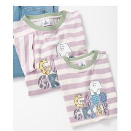 image of 查理‧布朗童裝親子系列配色條紋印花T恤 Charlie Brown Kids Kids Collection Color Stripe Print T-Shirt