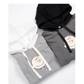 image of 查理‧布朗親子系列條紋連帽T恤 兩色售 Charlie Brown Family Series Striped Hooded T-Shirt Two-Color