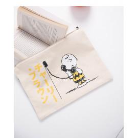 image of 查理‧布朗日文字母印花拉鍊手拿包 Charlie Brown Japanese Letter Print Zip Clutch
