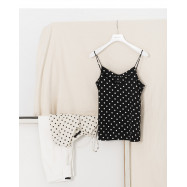 image of  波點印花細肩帶背心 兩色售 Polka Dot Printed Strap Vest Two Colors