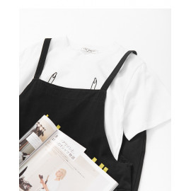 image of 純色素面休閒吊帶連身褲 Pure Color Face Casual Sling Jumpsuit