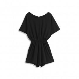 image of 露背叉肩袖棉質連身褲 Open Back Split Shoulder Sleeve Cotton Jumpsuit