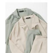 image of 單釦素面西裝雪紡套裝 兩色售 Single Button Plain Suit Chiffon Suit Two-Colors