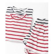 image of 配色條紋上衣短褲套裝 兩色售 Color Stripe Tops Shorts Set Two Colors