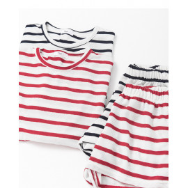 image of 配色條紋上衣短褲套裝 兩色售 Color Stripe Tops Shorts Set Two Colors