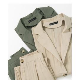 image of 棉麻素面西裝套裝 兩色售 Cotton And Linen Plain Suit Two-Colors