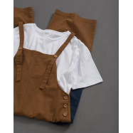 image of 女裝 親子系列 撞色雙口袋吊帶褲 Women's Family Series Contrast Color Double Pocket Suspenders