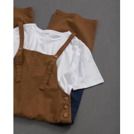 image of 女裝 親子系列 撞色雙口袋吊帶褲 Women's Family Series Contrast Color Double Pocket Suspenders