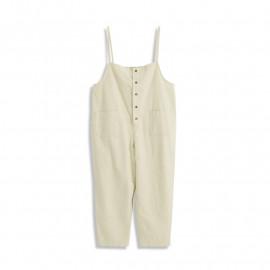 image of 素面口袋排釦棉麻吊帶褲 Plain Pocket Buckle Cotton And Linen Suspenders