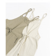 image of 休閒素色腰抽繩設計吊帶褲 兩色售 Casual Plain Waist Drawstring Design Suspenders Two-Colors