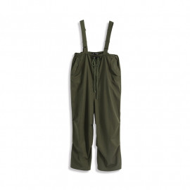 image of 高腰抓褶抽繩吊帶寬褲 High Waist Pleated Drawstring Hanging Bandwidth Pants