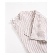 image of 下擺抽繩條紋棉麻上衣 Hem Rope Collection Cotton Blouse