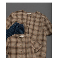 image of 童裝 親子系列格紋棉麻短袖上衣 Children's Wear Parent-Child Series Plaid Cotton Short-Sleeved Shirt