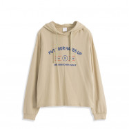 image of 配色字母印花連帽大學T Color Matching Letter Printed Hooded University T