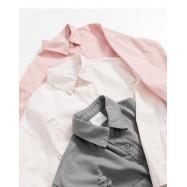 image of 水洗刷破造型長版襯衫外套 三色售 Washed Brush Broken Style Long Shirt Jacket Three Colors