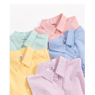 image of 馬卡龍色系寬鬆長袖襯衫 五色售 Macarons Loose Long-Sleeved Shirt Five Colors