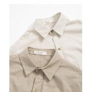 image of 素面棉麻單口袋襯衫 兩色售 Plain Cotton Single Pocket Shirt Two-Colors