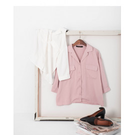 image of 雙口袋七分袖雪紡襯衫 兩色售 Double Pocket Cropped Sleeve Chiffon Shirt Two-Colors