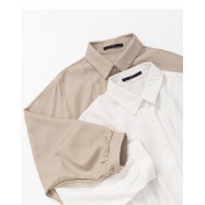 image of 簡約素色綁結造型長袖襯衫 兩色售 Simple Plain Tie-Tie Long-Sleeved Shirt Two-Colos