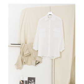 image of 雙口袋造型微透襯衫 兩色售 Two-Pocket Styling Micro-Transparent Shirt Two Colors