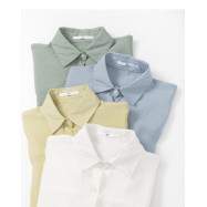 image of 前短後長素面襯衫 四色售 Front Short And Long Plain Shirt Four Colors