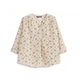 image of V領滿版小花雪紡上衣 兩色售 V-Neck Full Version Of Small Flower Chiffon Top Two-Colors