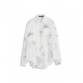 image of 滿版樹葉雪紡長袖襯衫 Full Version Of Leaf Chiffon Long Sleeve Shirt