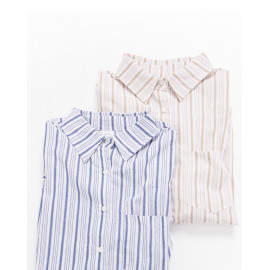image of 單口袋粗細條紋襯衫 兩色售 Single Pocket Thick Striped Shirt Two Colors