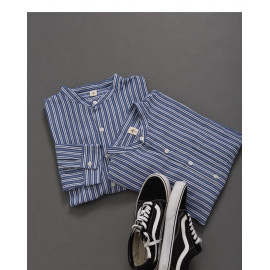 image of 中山領直條紋單口袋襯衫 Nakayama Collar Straight Striped Single Pocket Shirt