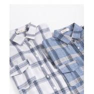 image of  造型雙口袋格紋襯衫長版洋裝 兩色售 Model Double Pocket Check Shirt Long Dress Two-Colors