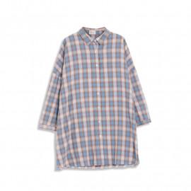 image of 基本撞色格紋長版襯衫 Basic Contrast Plaid Long Shirt