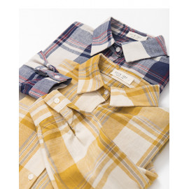 image of 撞色大格紋棉麻襯衫 兩色售 Contrast Large Check Cotton Shirt Two-Colors