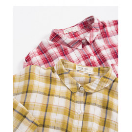 image of 配色格紋單口袋襯衫 兩色售 Color Plaid Single Pocket Shirt Two-Colors