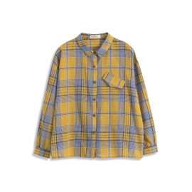 image of 配色格紋假口袋造型長袖襯衫 Matching Plaid Fake Pocket Shape Long Sleeve Shirt