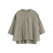 image of 中山領格紋前短後長襯衫 Zhongshan Collar Plaid Short Short Shirt