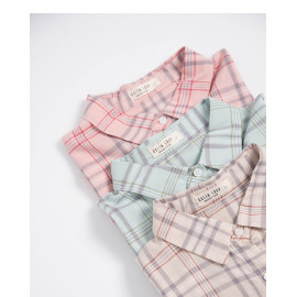 image of 柔和配色格紋長袖襯衫 三色售 Soft Color Check Long-Sleeved Shirt Three-Colors