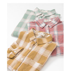 image of 配色格紋棉麻襯衫 三色售 Matching Check Cotton And Linen Shirt