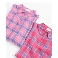 image of 亮色格紋長袖襯衫外套 兩色售 Bright Plaid Long-Sleeved Shirt Jacket Two-Colors