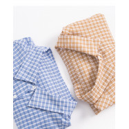 image of 滿版格紋後釦造型長袖襯衫 兩色售 Full-Length Plaid Buckled Long-Sleeved Shirt Two-Colors