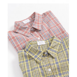 image of 配色格紋單口袋襯衫 兩色售 Color Check Single Pocket Shirt Two-Colors