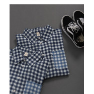 image of 深淺配色格紋口帶造型襯衫 Dark And Light Color Plaid Mouthband Style Shirt